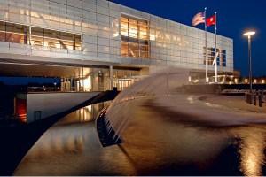 Clinton Presidential Center Fountain at night.