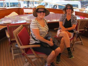 Debbie and Phyllis on a yacht in the marina.