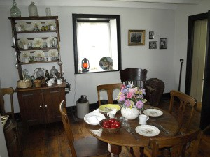 Dining area inside Walnutport lockhouse.