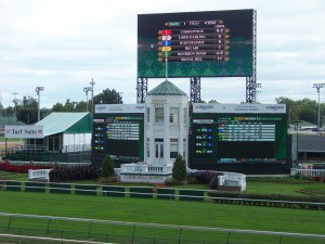"""The """"huge"""" tote board at the track"""