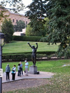 """Entrance to the Philadelphia Art Museum and the """"Rocky"""" statue."""