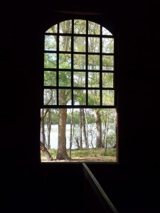 Looking through window at Old Christ Church