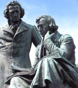 Statue of the Brothers Grimm in their hometown of Hanau, Germany.