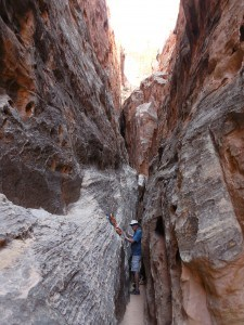 Hiking a slot canyon in Cohab Canyon