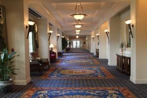 Hallway of portraits at Washington Duke Inn