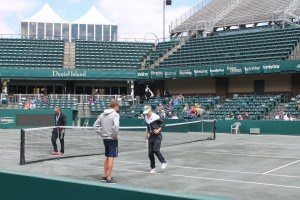 Lucie Sarafova works with her coach on her footwork.