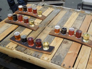 Beer samplers at Three Mugs Brewing