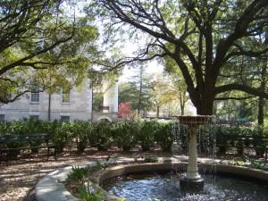 Garden fountain at Hampton-Preston House