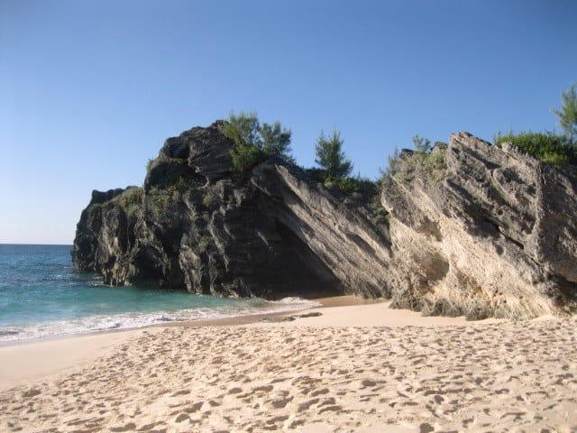 Eroding Volcanic cliffs overlooking ocean. Bermuda